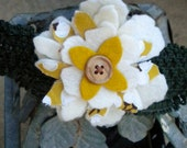 Flower headband in cream and olive fabric
