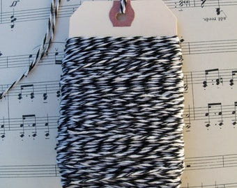 40 yds Bakery Twine, Black and White, ribbon, wrapping,  Black  and White Twine, Twine, Bakers String