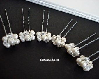 Small Hair pins, Ivory white Swarovski pearls Crystals, Silver pearl clusters, Bridal hair piece, Bridesmaid gift, Wedding Hair accessories
