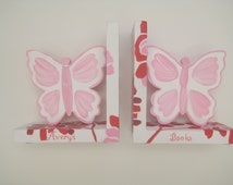Hand painted, personalized Pink and red butterfly bookends to match bedding for girls room decor
