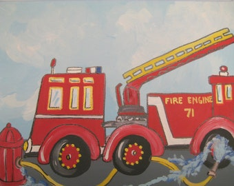 A hand painted fire truck painting for a little boys room, ready to ship,fire engine, fireman,boys room decor, art for boys,boys wall art