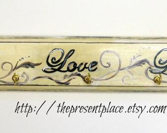 hand painted distressed cream key holder,live laugh love,key holder,distressed wood,wooden key holder,key hooks,wall hooks,wall decor
