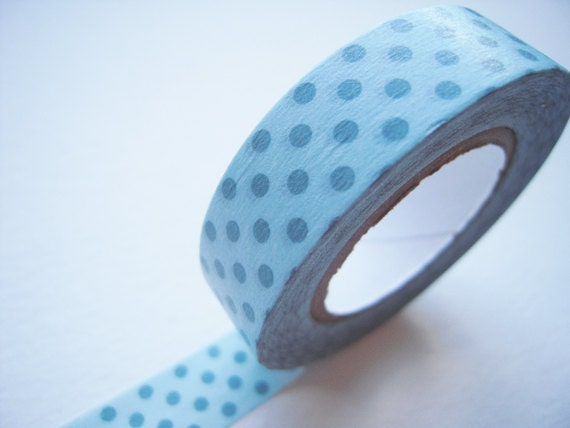 Japanese Washi Masking - 13mm Blue dots on Light Blue for baby shower, party deco, invitation making, packaging, scrapbooking