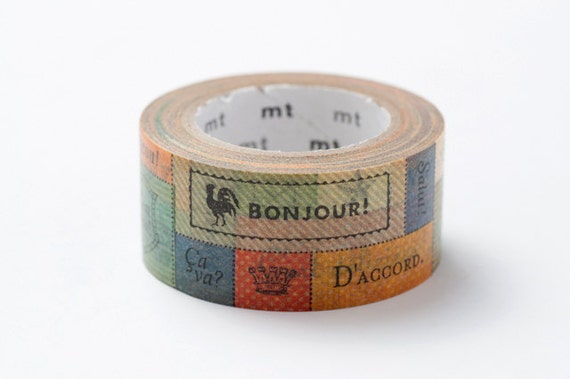 Discontinued - MT ex 2012 Autumn - Japanese Washi Masking Tape / 22mm Messages in French for tag making, packaging, card making