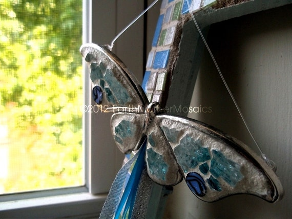 Pewter Mosaic Butterfly, Hanging Wall Art with Blue Ribbon, Blue, Glitter, Baby's Room, Sun Porch, Bright Window, Decor - 5 inches
