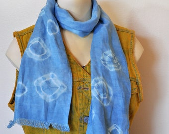 """Linen SCARF - Royal Sky Blue Hand Dyed Tie Dye Hand Made Linen Scarf #60 - 8x50"""""""