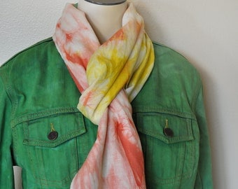 """Linen SCARF - Red Yellow Gold Blend Multicolor Hand Dyed Tie Dye Hand Made Linen Scarf #55 - 12X72"""""""