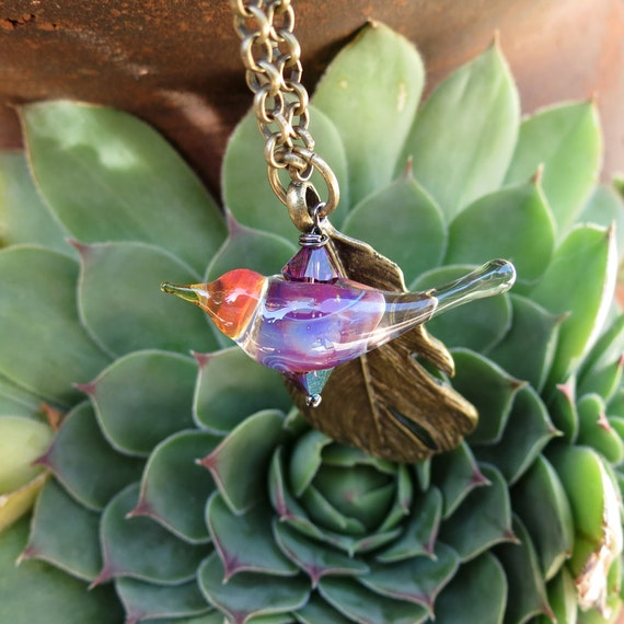 Bird necklace, feather necklace, handmade lampwork necklace - Beautiful Flyer