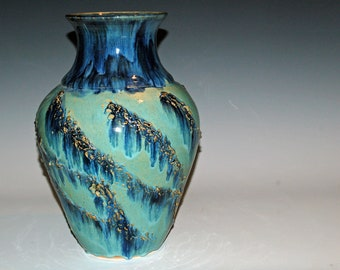 Large Pottery Vase with Blue and Green Glazes, Ceramics and Pottery, Home Decor