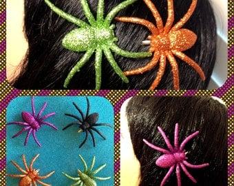 Glitter Hair Spider Clip Green Purple Black Orange Psychobilly Free shipping