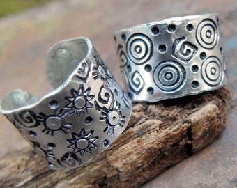 Suns and Spirals, Adjustable, Aluminum Rings, ThePurpleLilyDesigns