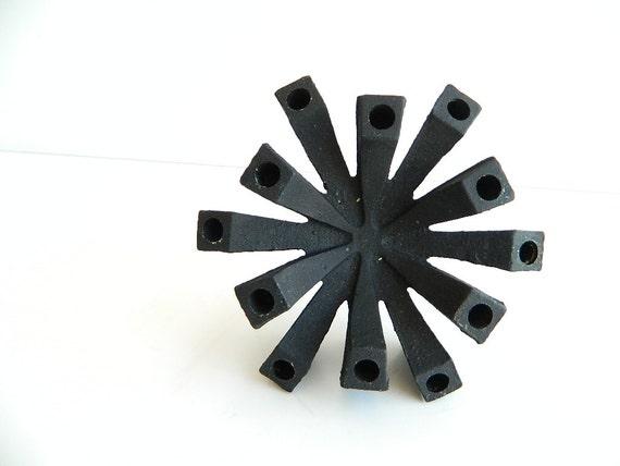 Danish Modern Black Cast Iron Spider Candle Holder Made in japan for Hallmark