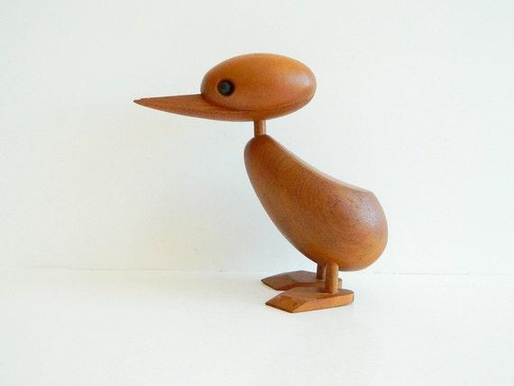 Large Danish modern teak duck in the style of Hans Bolling