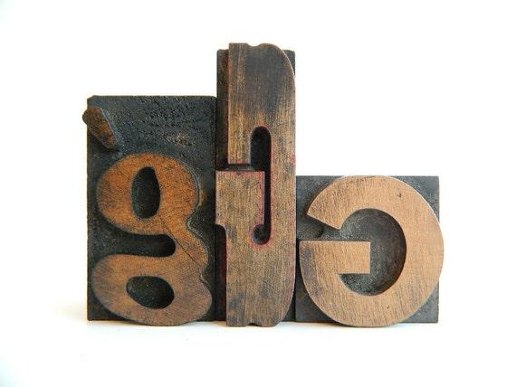 Vintage Letterpress Printers Blocks Wood Type Set of g G G
