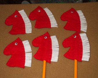 6 Horse Head pencil toppers - finger puppets