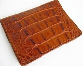 Handmade Alligator Card Wallet- Cognac Leather Card Case