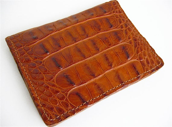 Handmade Alligator Card Wallet Cognac Leather Card Case