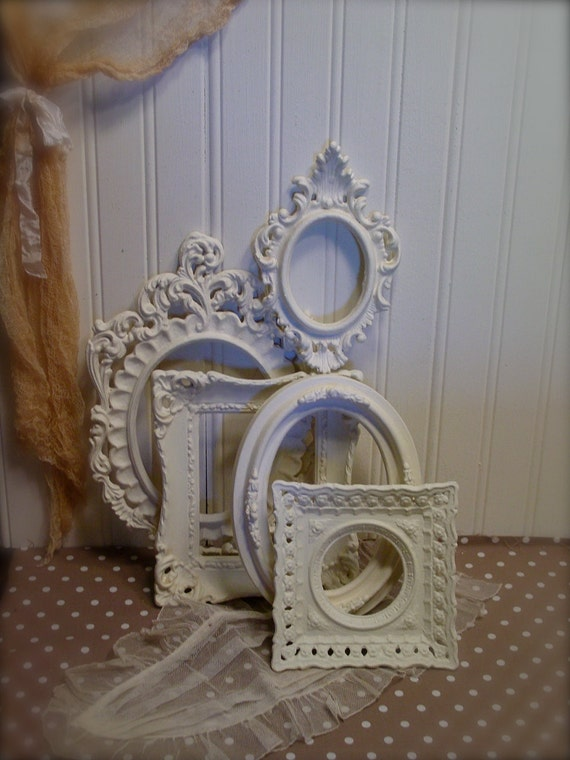 Vintage Frame Collection - Upcycled Antique White - Chalk Paint -  Smaller  Ornate Frames