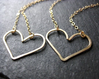 Handcrafted Heart Necklace, available in gold or silver
