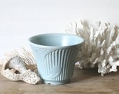 Vintage Art Deco Pottery Planter Pale Powder Blue Beach Cottage