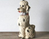 Vintage Chalkware Poodle Black White Red Collar Glitter As Is