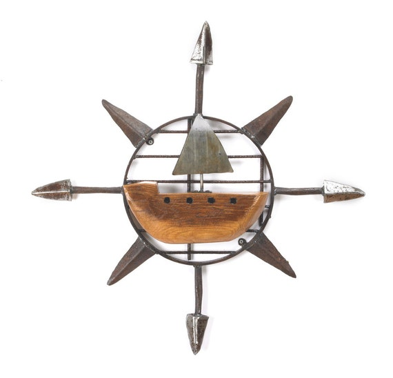 Art Metal Wall Sculpture Sailboat Compass
