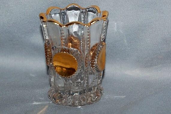 Vintage / Antique / Coin Dot / Toothpick / Holder / Pattern Glass / gold trim