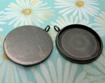 40pcs 27mm BRASS base Trays antique silver blank pendant