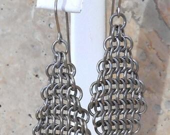 Small Diamond Earrings in Stainless Steel