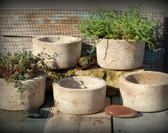 5 Simple Hypertufa Pots. Lightweight Concrete Planter. Mimimalist Pot Modern Design. Free Shipping!