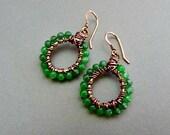 Small Antique Copper Beaded Aventurine Hoop Earrings