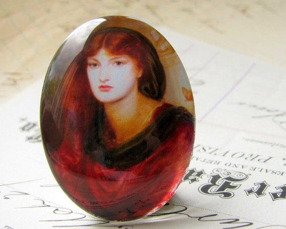 """Glass oval cab """"Scarlet Woman"""" handmade cabochon, 40x30 30x40 40x30mm 30x40mm 40 30 mm, historical painting, long red hair, black yellow"""