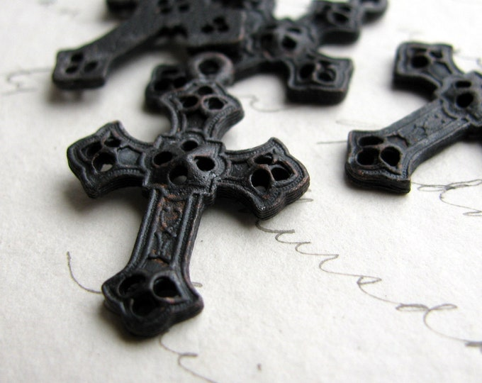 Byzantine cross charm from Bad Girl Castings, 27mm solid antiqued black pewter, sideways option, oxidized (4 small pendants ) CH-SC-023