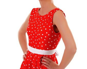 Tess Red Polka Dot Swim Dress  Vintage Inspired SML- XL Made to Order