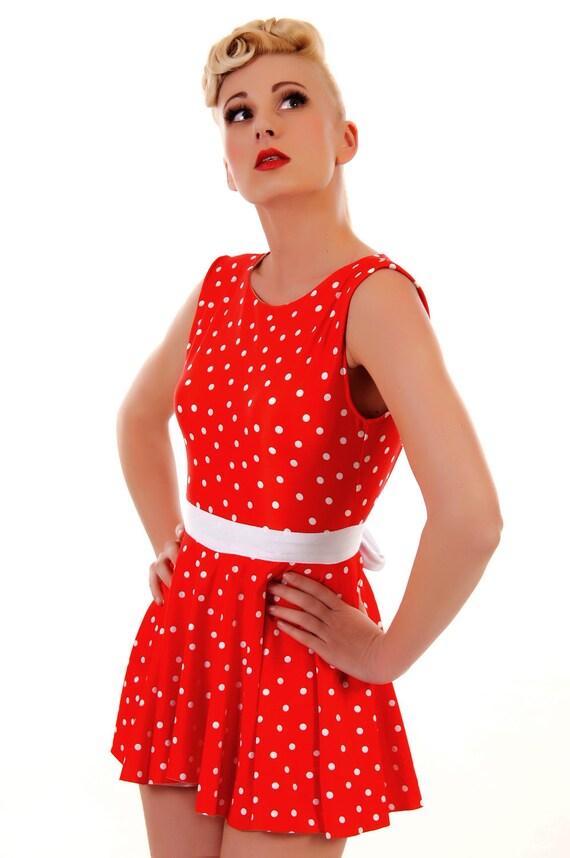 Tess Red Polka Dot Swim Dress  Vintage Inspired SML- XL Made to Order