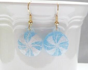 Blue Swirl Hard Candy Dangle Earrings