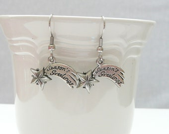 hd-Silver SEASONS GREETINGS Comet Dangle Earrings