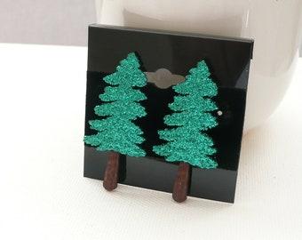 Glitter Green Evergreen Tree Stud Earrings