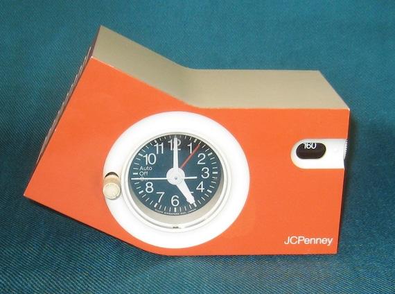 Vintage AM Clock Radio Orange, Purple and White, JC Penney