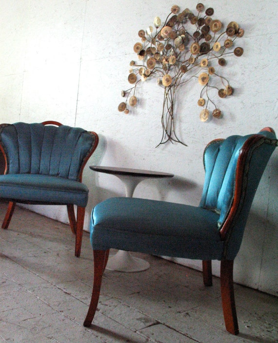 LABOR DAY SALE Pair of Hollywood Regency Slipper Chairs  Teal Blue Vintage Lounge Chairs