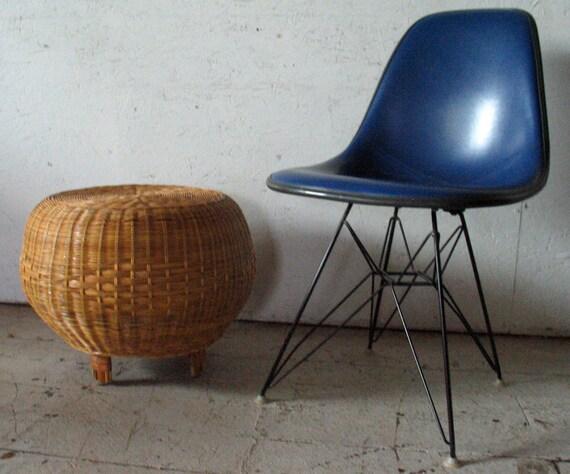 Mid Century Modern Pouf Ottoman / stool /  table , Wicker  Bamboo hassock