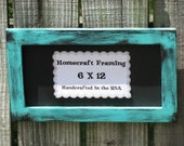 6X12 Picture Frame Distressed Turquoise Black Photo Frame Shabby Chic Wooden