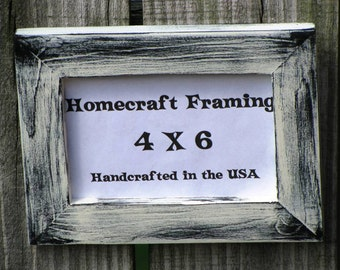 4X6 Picture Frame Distressed White Black Shabby Chic Rustic Wedding Photo Frame