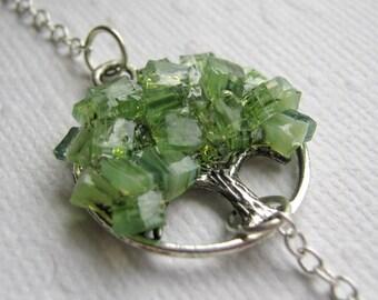 Raw Peridot Crystal Tree Bracelet with Silver Chain