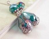Teal Blue Beaded Earrings, Teardrop Earrings, Glass Dangles, Antiqued Silver, Bridal Jewelry, Blue Jewelry