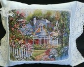 VICTORIAN PILLOW -  House Scene Periwinkle Blue with White Crochet Trim Shabby Cottage Chic Cozy and Welcoming  --  Free Shipping
