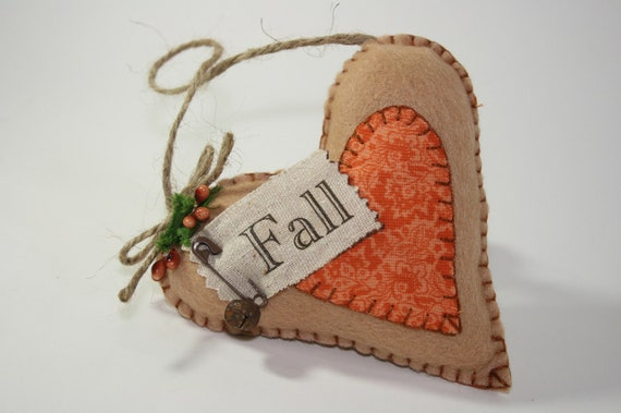 Fall Felt Heart Decoration Ornament