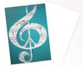 Set of 3 Cards, Music and Peace, Sheet Music, Treble Clef, Peace Sign, Silver, Gray, Black, Aqua, Blue, Turquoise, Greeting, Him, Her