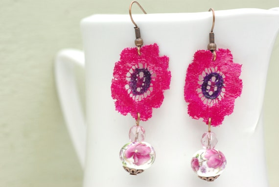 Fuchsia Pink Earrings, Pink Lace Earrings, Porcelain Flower Earrings, Porcelain Dangle Earrings, Long Earrings