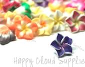 Tiny Polymer Clay Plumeria Frangipani Flower Beads Mix... 20pcs